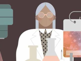 illustration of scientist in lab